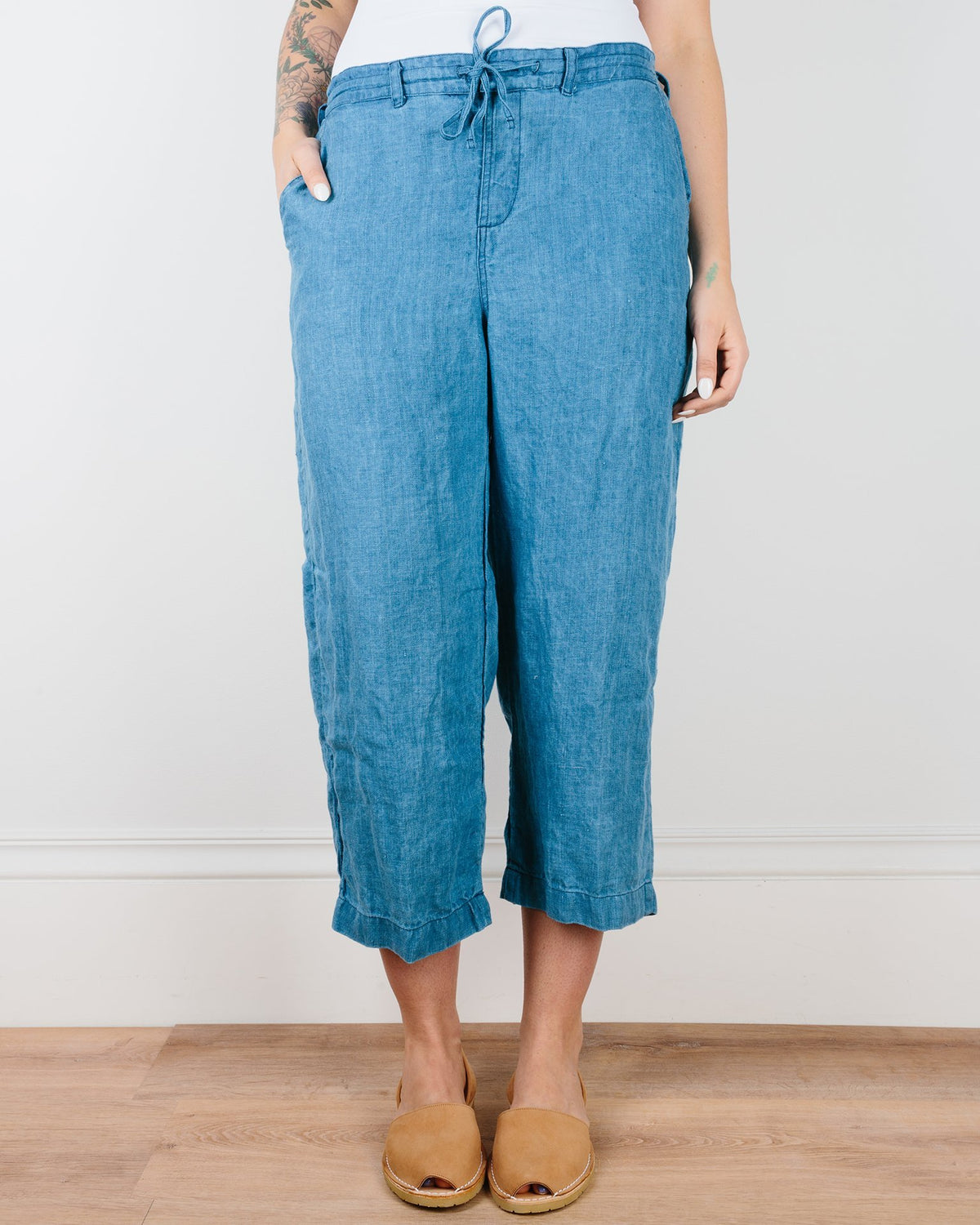 CP Shades Clothing Bleach Indigo Twill / XS Riley Crop Straight Leg Pant in Indigo Twill