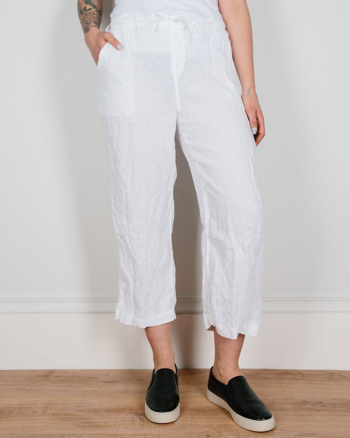 CP Shades Clothing White / XS Riley Crop Straight Leg Pant in White Linen