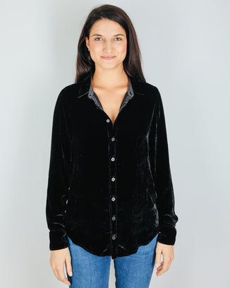 CP Shades Clothing Romy Blouse in Black Silk Velvet