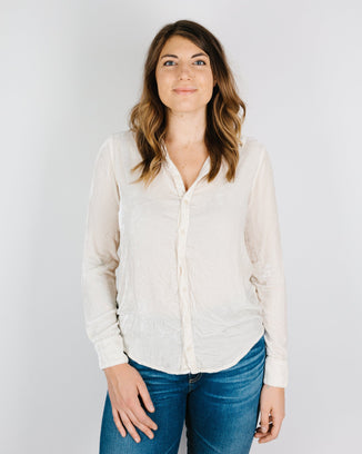 CP Shades Clothing Romy Blouse in Ivory Silk Velvet