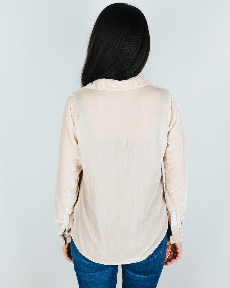 CP Shades Clothing Romy Blouse in Oat Silk Velvet