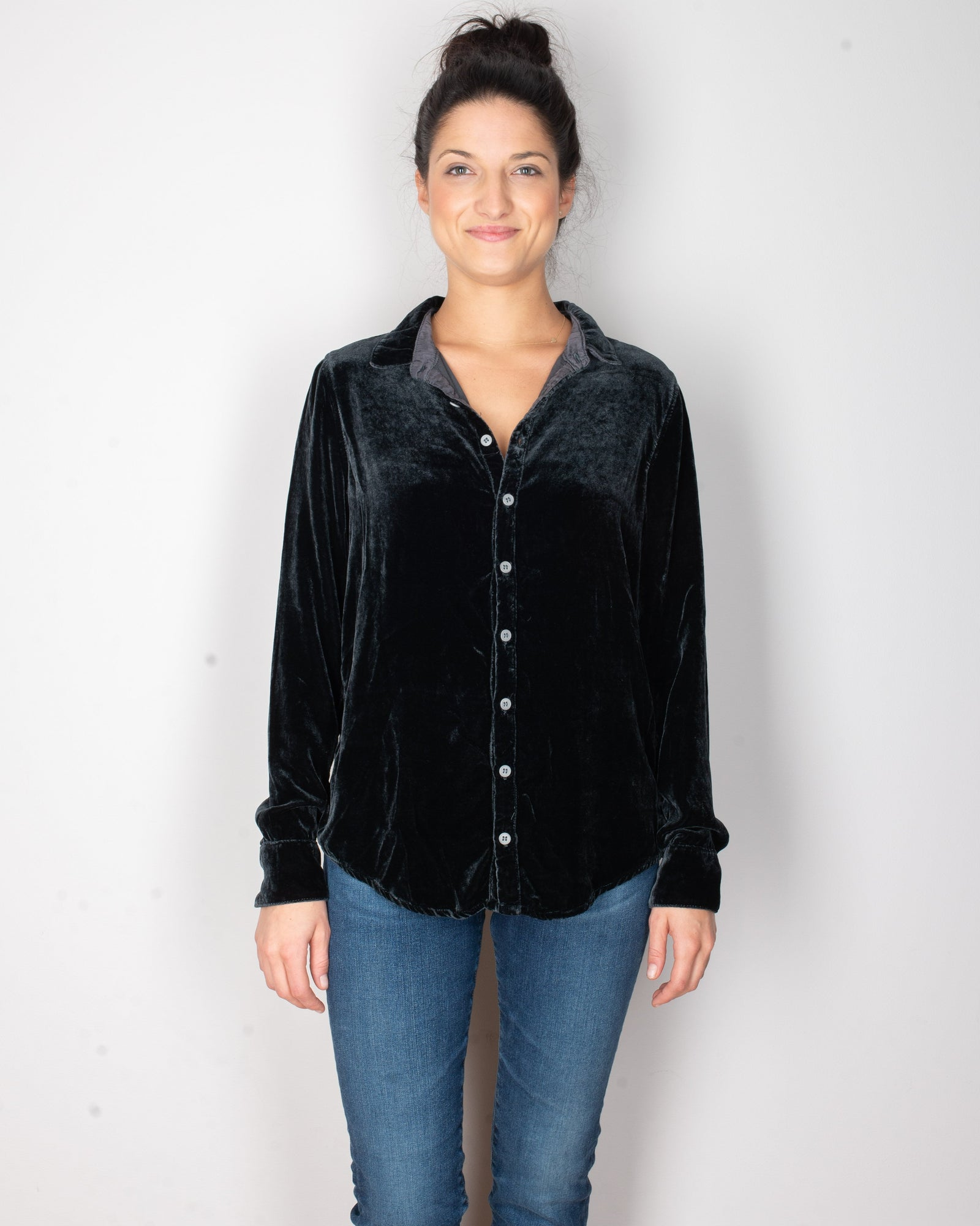 CP Shades Clothing River Rock / XS Romy Blouse in River Rock Silk Velvet
