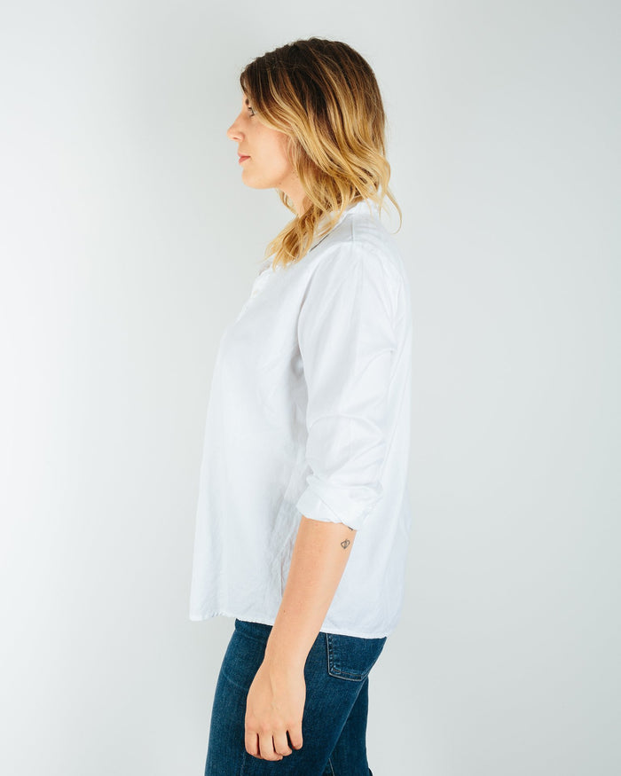 CP Shades Clothing Romy Blouse in White Cotton Twill