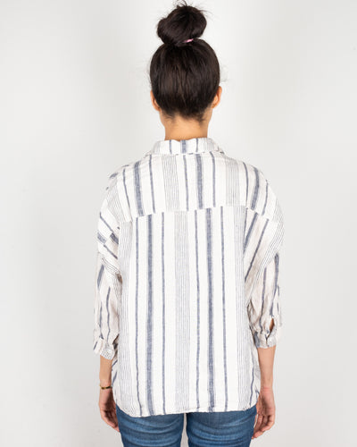 CP Shades Clothing Rooney Crop Blouse in Navy & Ivory Stripe