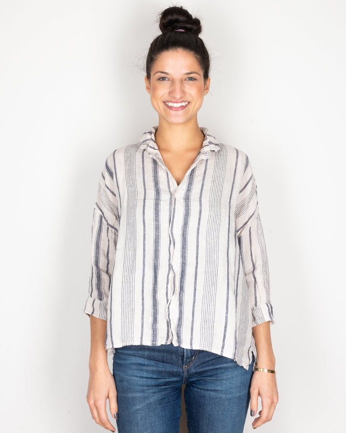 CP Shades Clothing Navy & Ivory Stripe / XS Rooney Crop Blouse in Navy & Ivory Stripe