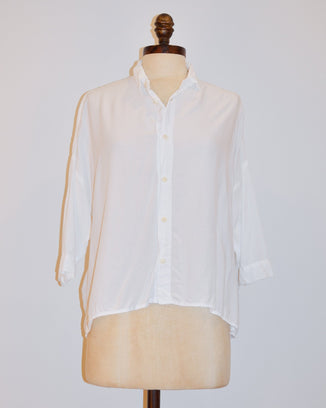 CP Shades Clothing XS Rooney Crop Blouse in White Rayon
