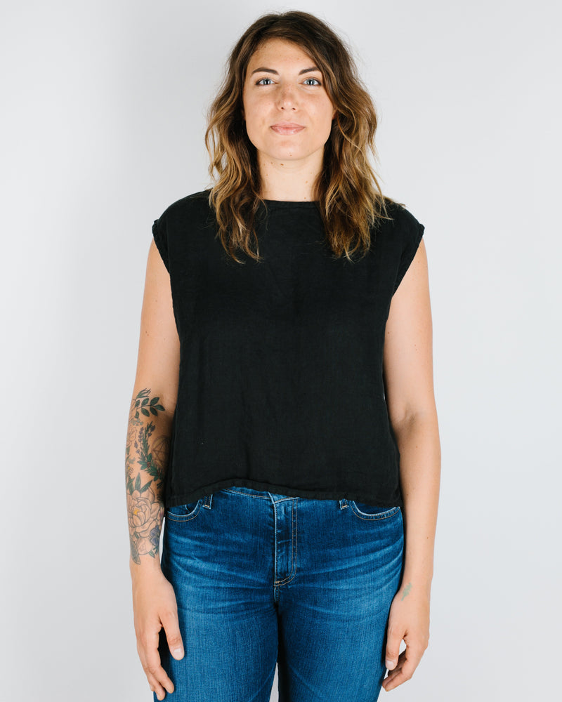 CP Shades Clothing Black / XS Rowan Muscle Tee in Black Linen