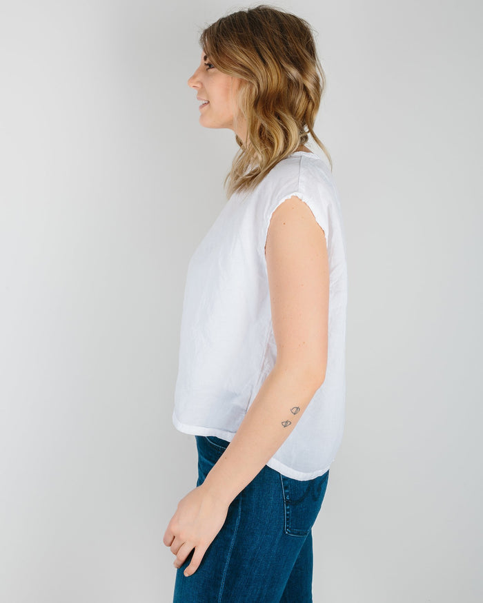 CP Shades Clothing White / XS Rowan Muscle Tee in White Cotton