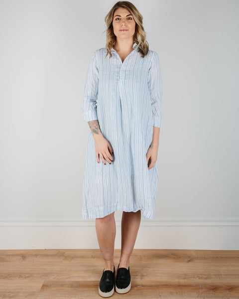 CP Shades Clothing Light Blue Textured Stripe / XS Rumer Henley Dress in Light Blue Textured Stripe