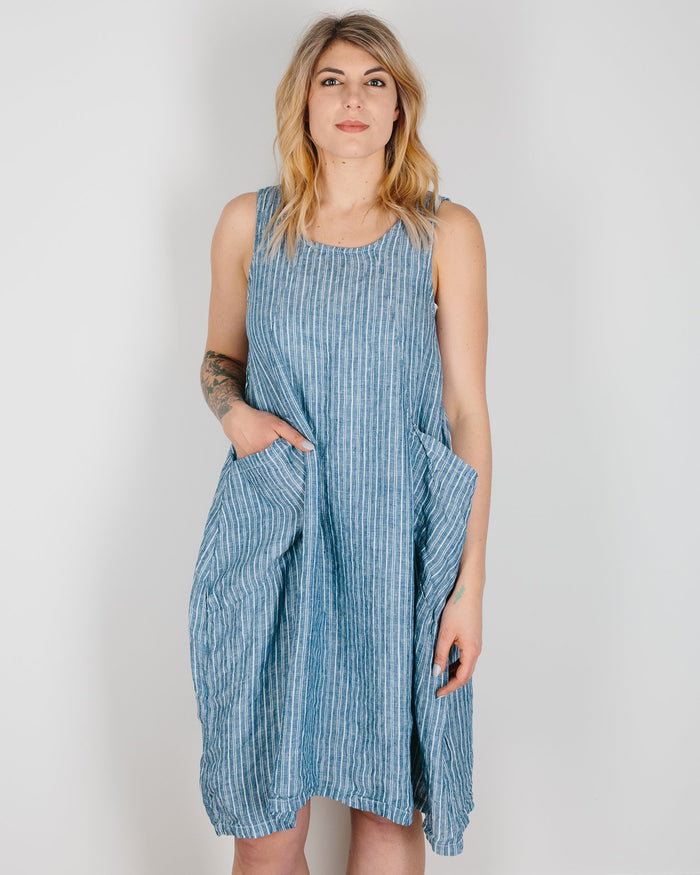 CP Shades Clothing Blue & White Stripe / XS Ruthie Pocket Tank Dress in Blue & White Stripe