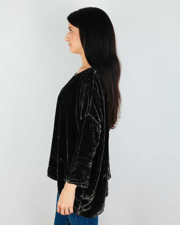 CP Shades Clothing Sibella Oversized Top in Iron Silk Velvet