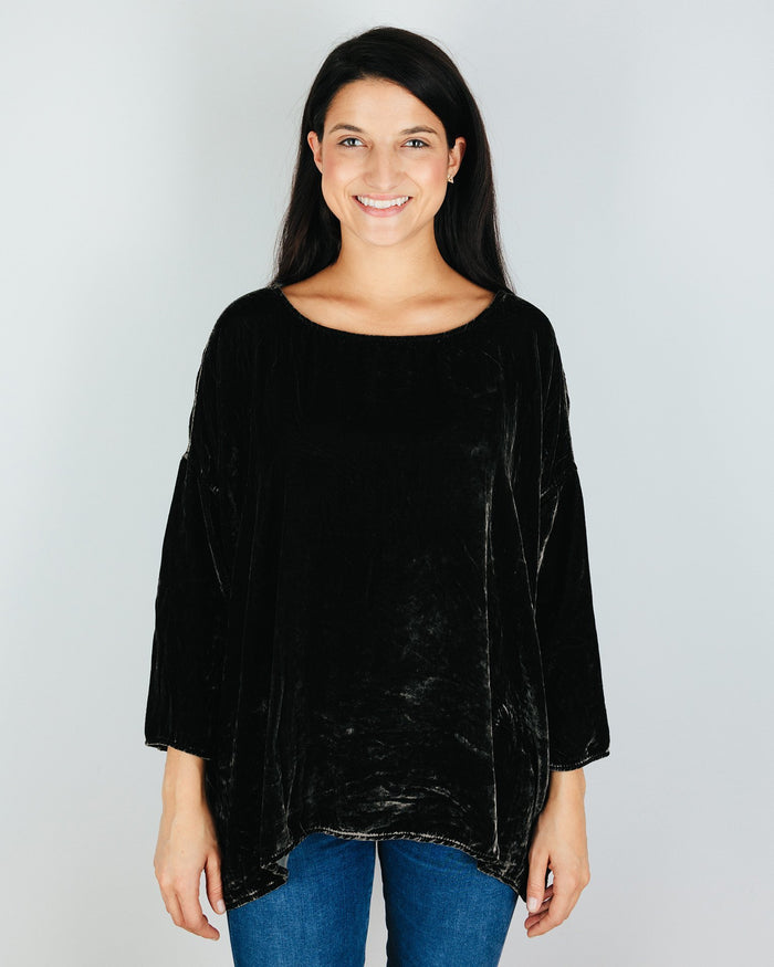 CP Shades Clothing Iron / XS Sibella Oversized Top in Iron Silk Velvet