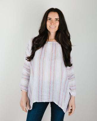 CP Shades Clothing Sibella Oversized Top in Rainbow Stripe