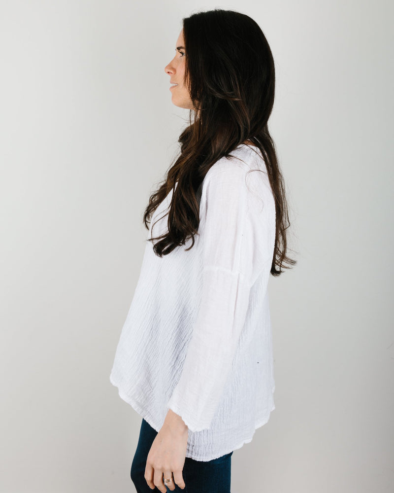 CP Shades Clothing Sibella Oversized Top in White Linen Gauze