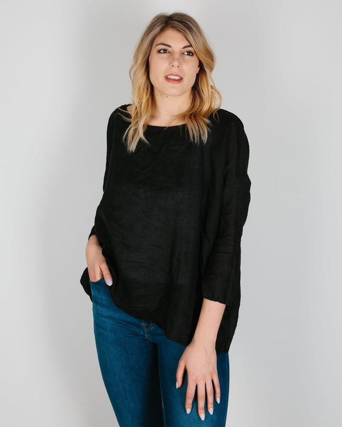 CP Shades Clothing Black / XS Sibella Top in Black Linen