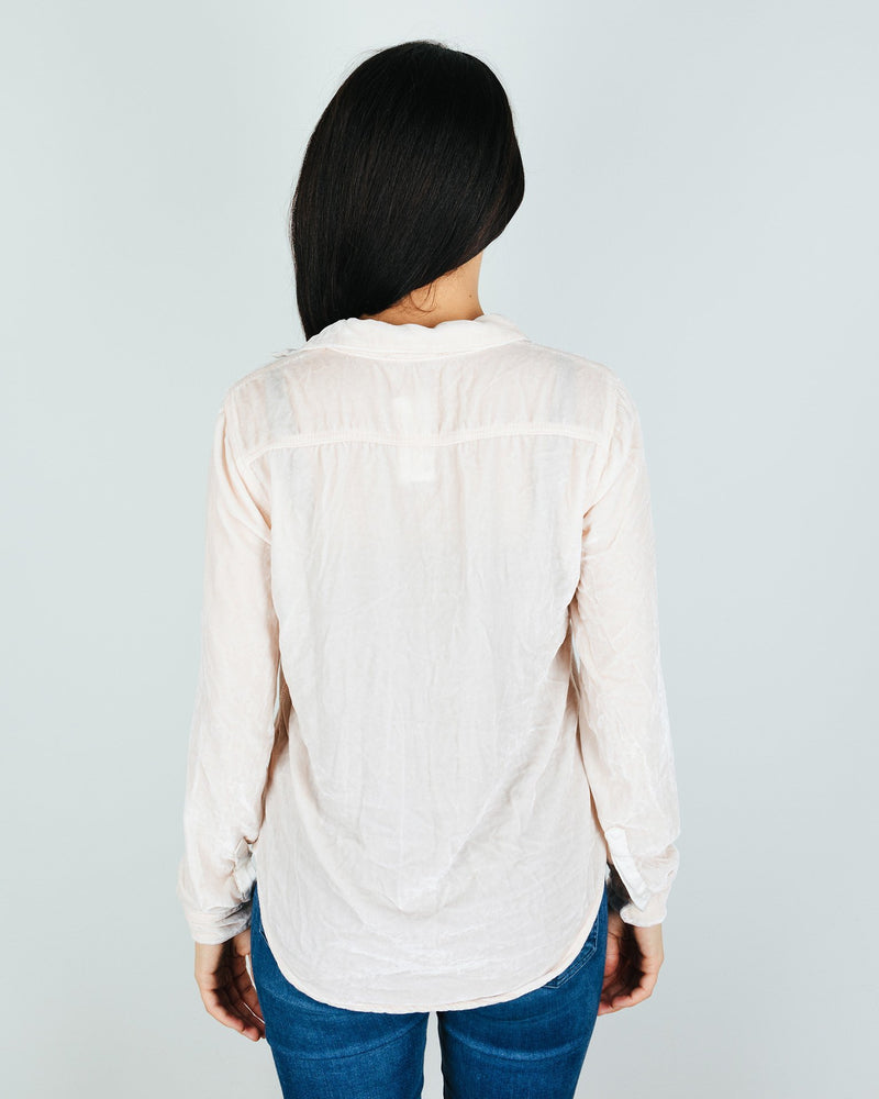 CP Shades Clothing Sloane Blouse in Bermuda Sand Silk Velvet