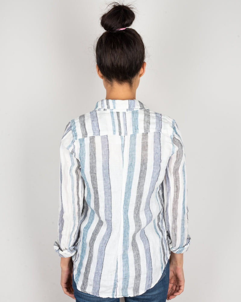 CP Shades Clothing Sloane Blouse in Blue & Black Stripe