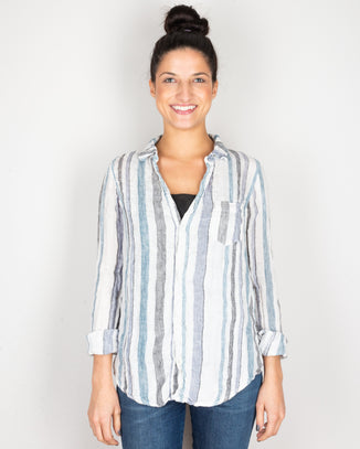 CP Shades Clothing Blue & Black Stripe / XS Sloane Blouse in Blue & Black Stripe