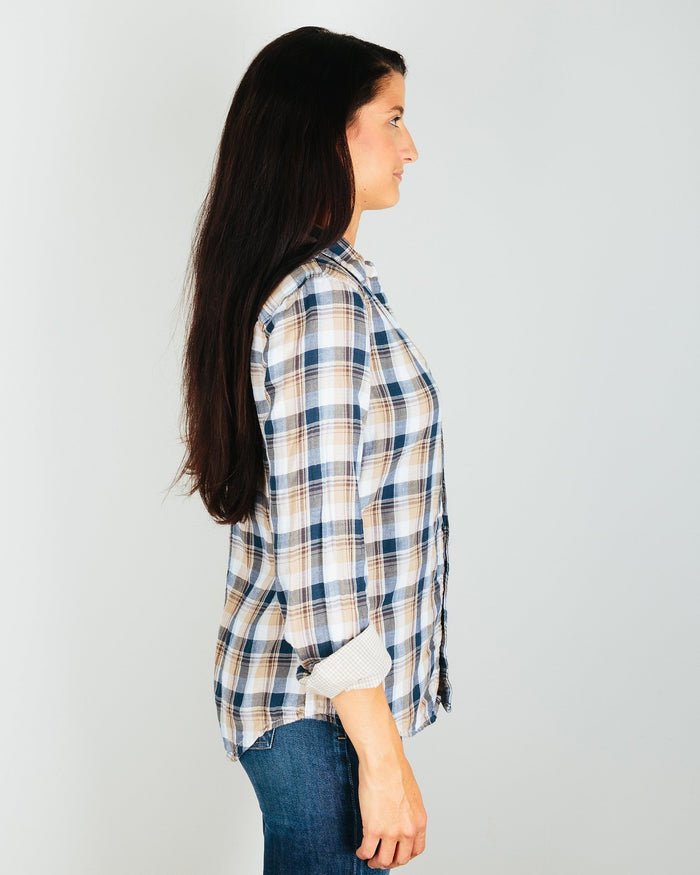 CP Shades Clothing Sloane Blouse in Blue & Brown Plaid