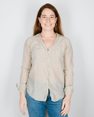CP Shades Clothing Sloane Blouse in Bone Cotton Silk