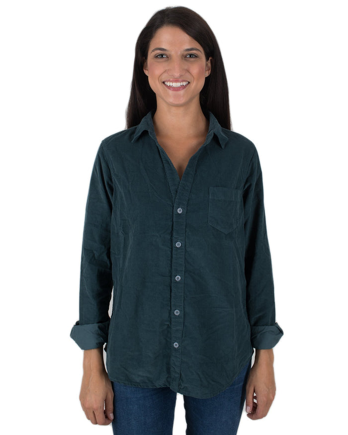 CP Shades Clothing Blue Green / XS Sloane Blouse in Micro Cord