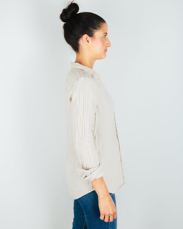 CP Shades Clothing Sloane Blouse in Oat Cotton Gauze