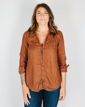 CP Shades Clothing Sloane Blouse in Pluot Linen Twill