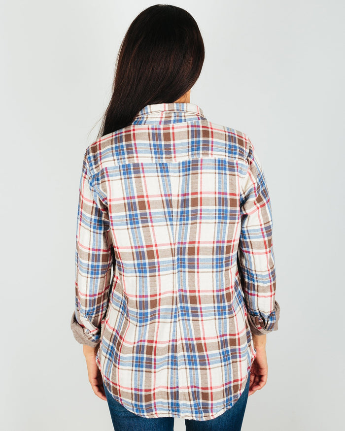 CP Shades Clothing Sloane Blouse in Red & Brown Plaid