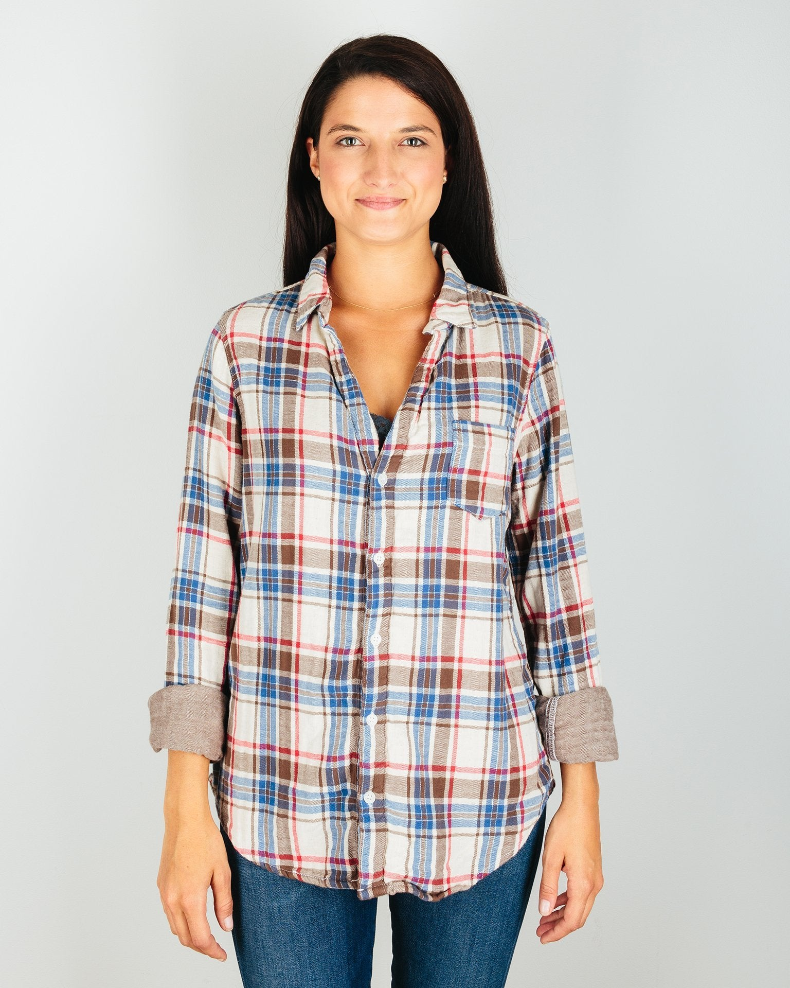 CP Shades Clothing Red & Brown Plaid / XS Sloane Blouse in Red & Brown Plaid