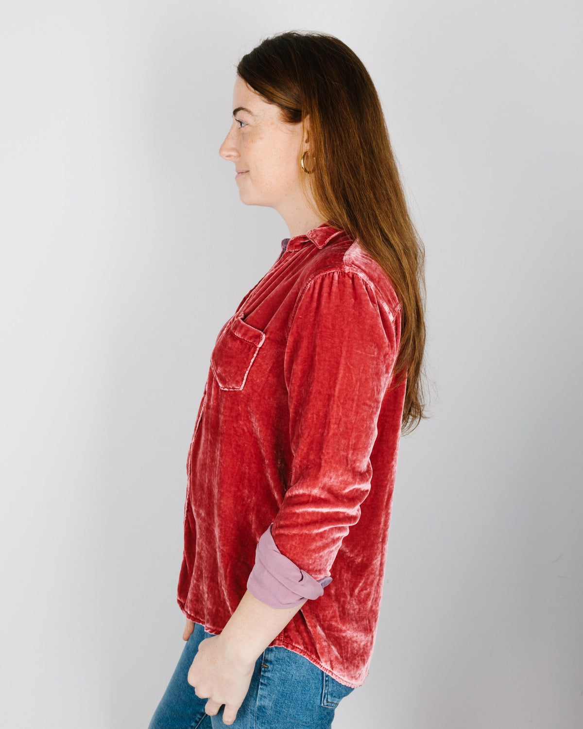 CP Shades Clothing Sloane Blouse in Rosewood Silk Velvet