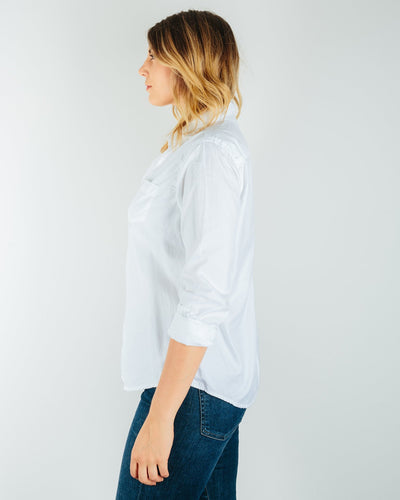 CP Shades Clothing Sloane Blouse in White Cotton Twill