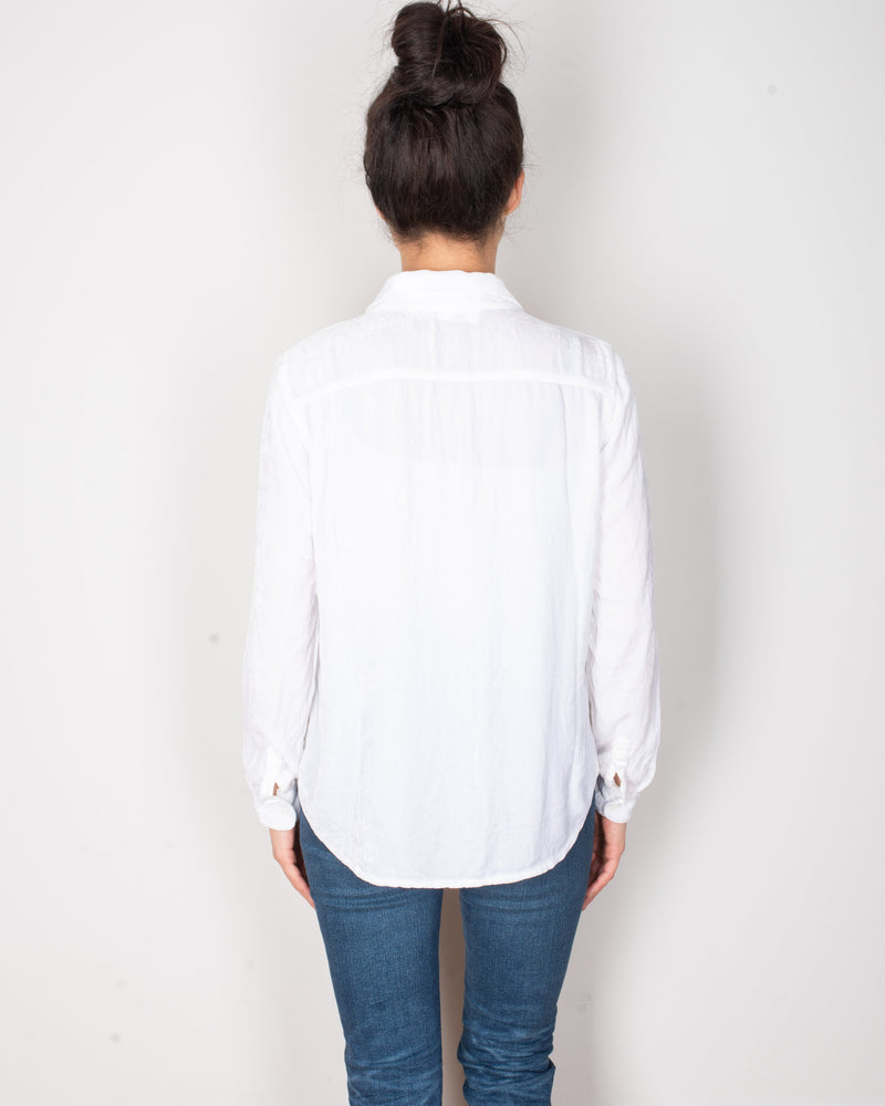 CP Shades Clothing Sloane Blouse in White Silk Velvet