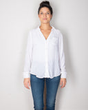 CP Shades Clothing White / XS Sloane Blouse in White Silk Velvet