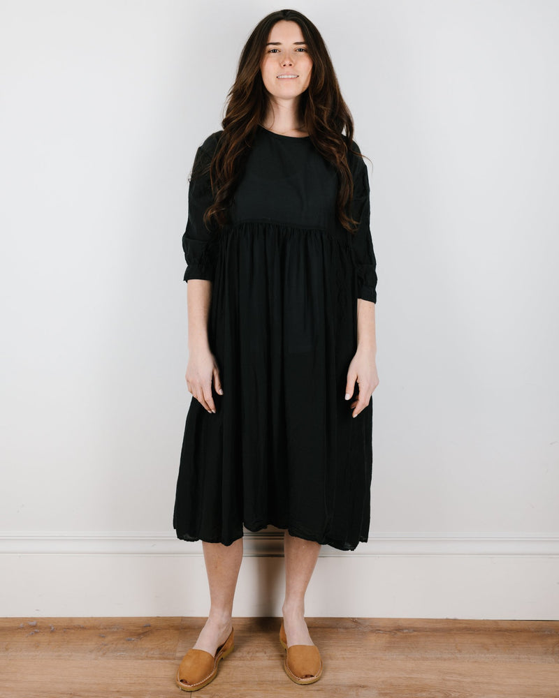CP Shades Clothing Sonia Dress in Black Cotton Silk