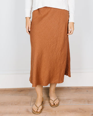 CP Shades Clothing Tanya Bias Cut Skirt in Pluot Linen Twill