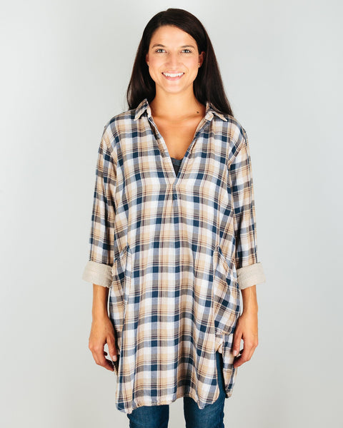 CP Shades Clothing Blue & Brown Plaid / XS Teton Double Cotton Plaid