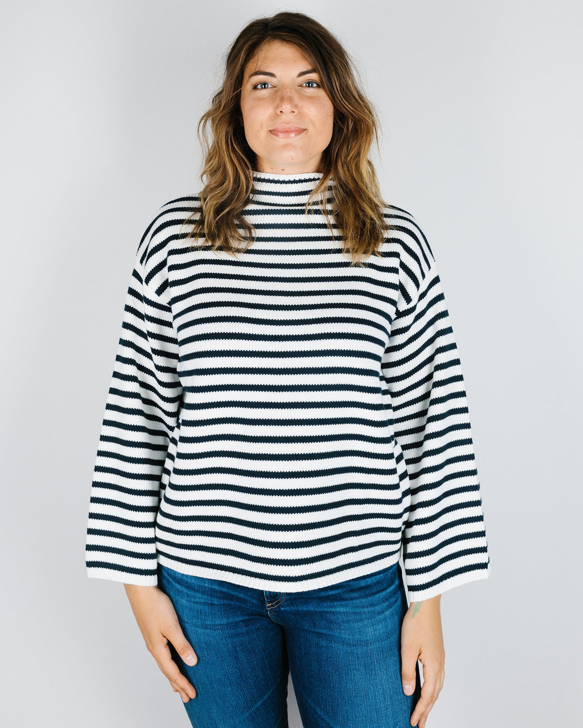 Demylee Clothing Agata Stripe Sweater in Navy & Off White