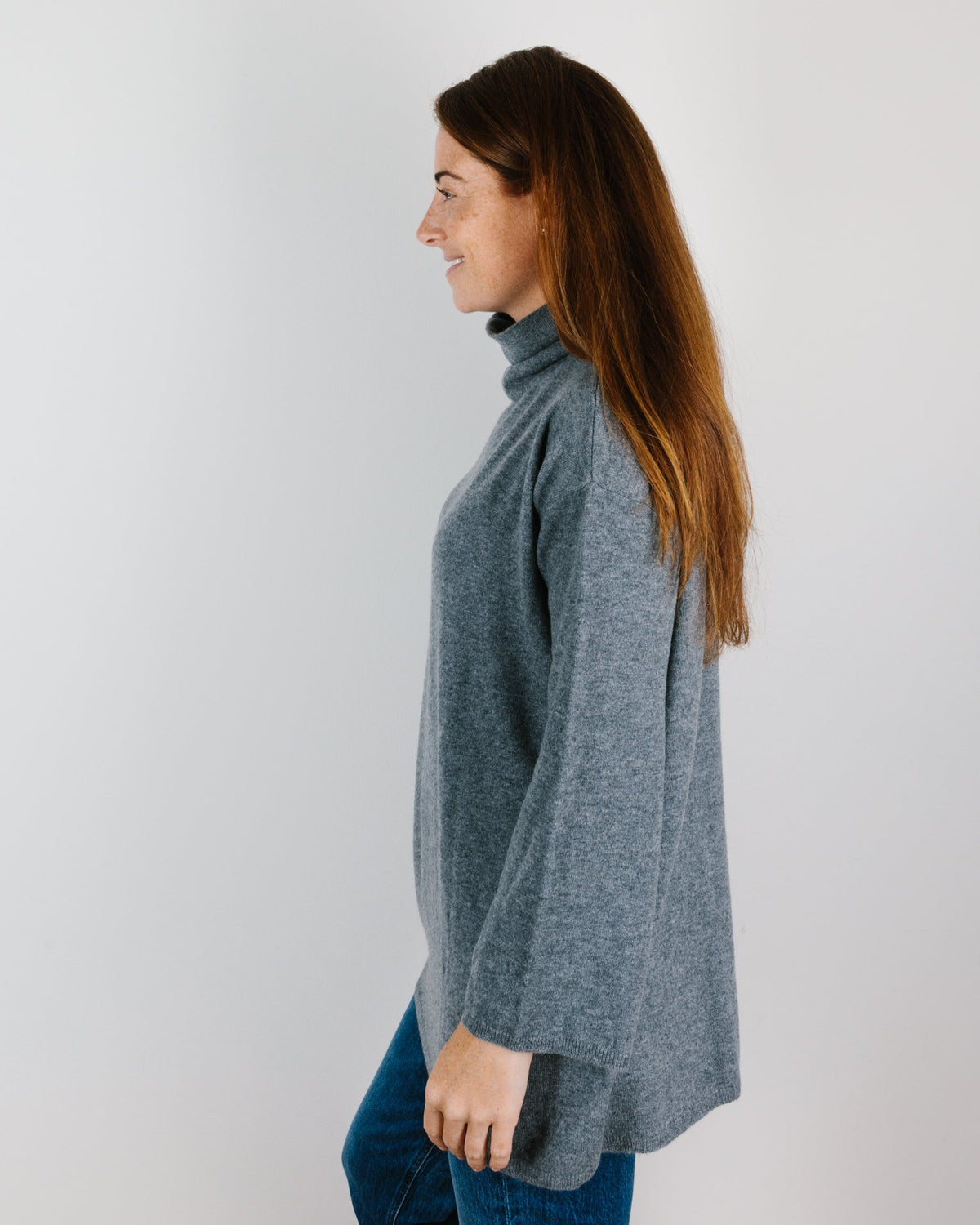 Demylee Clothing Anders Flowy Turtleneck in Med Heather Grey