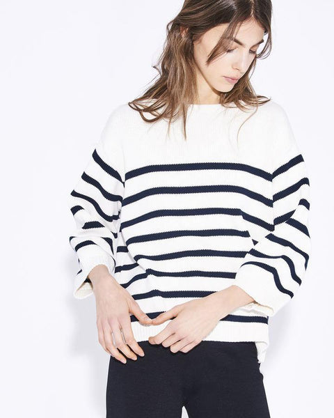 Demylee Clothing Navy & White / XS Annabelle Sweater in Navy & White