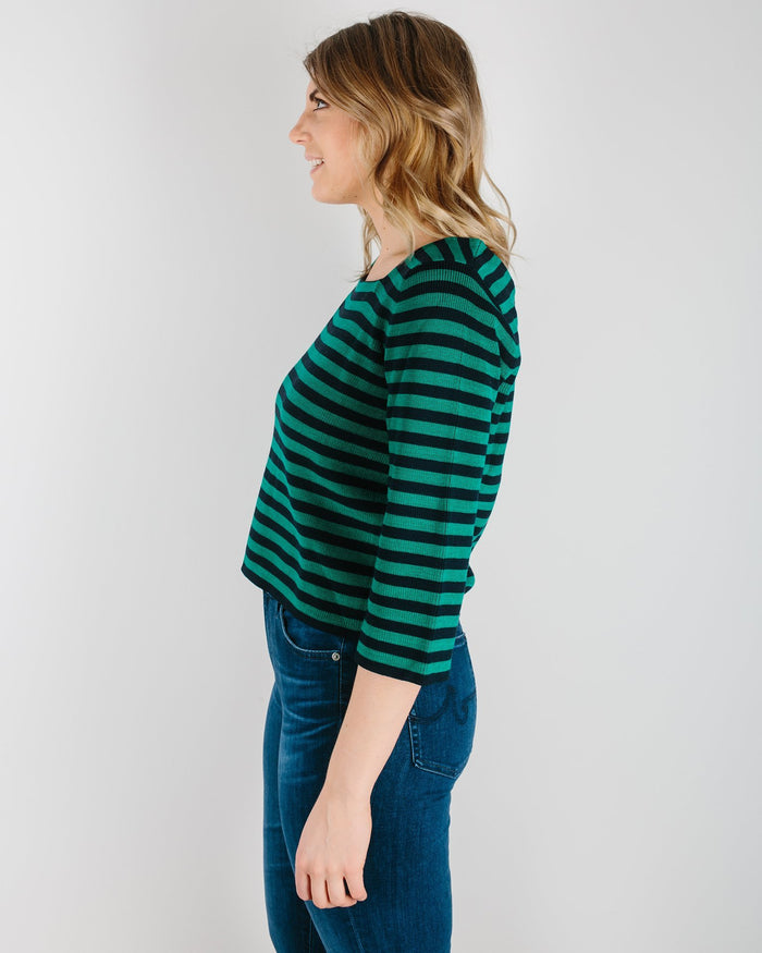 Demylee Clothing Navy/Clover / XS Brighton Stripe Sweater in Navy & Clover