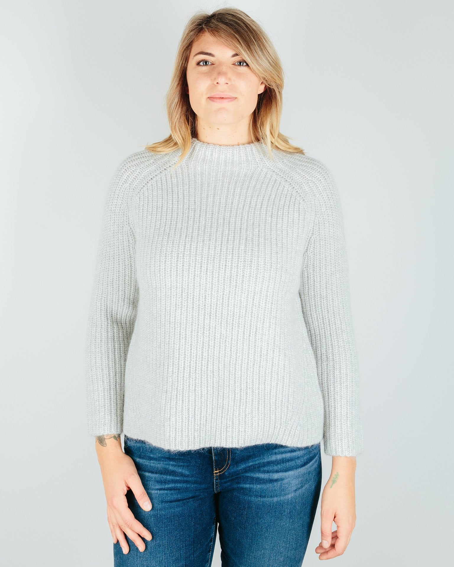 Demylee Clothing Light Heather Grey / XS Daphne Crewneck Sweater in Light Heather Grey
