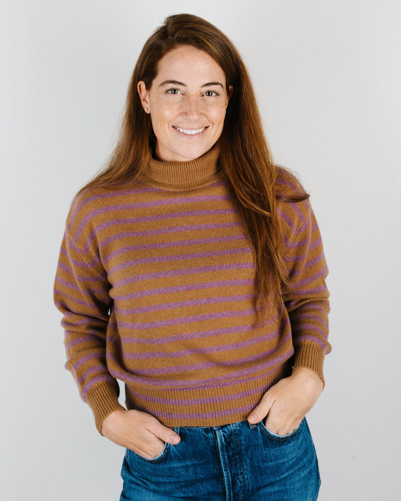 Demylee Clothing Emerie Striped Turtleneck in Chestnut & Deep Orchid