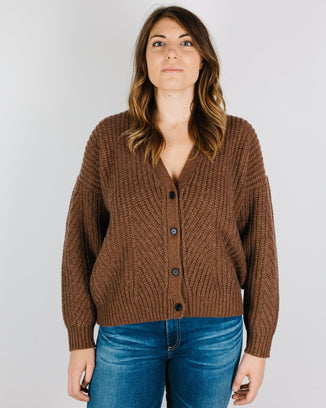 Demylee Clothing Maggie Classic Cardigan in Clove