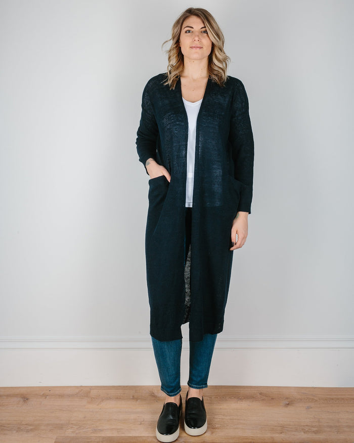 Demylee Clothing Navy / XS Philippa Long Shawl Cardigan in Navy