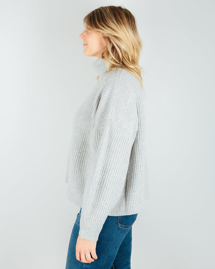 Demylee Clothing Tillie Turtleneck Sweater in Light Heather Grey