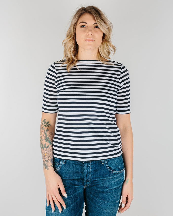 Demylee Clothing White/Navy / XS Vivienne Stripe S/S Boatneck