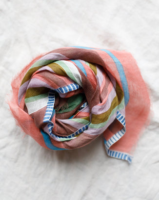 Épice Accessories Cotton Linen Stripe Scarf in Mauve