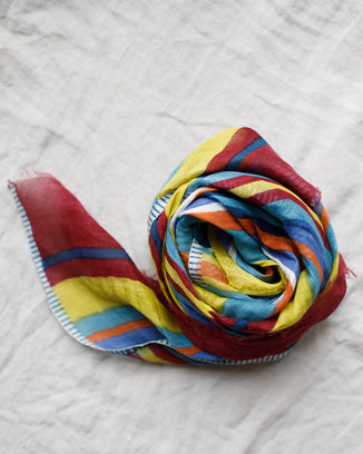 Épice Accessories Cotton Linen Stripe Scarf in Mimosa