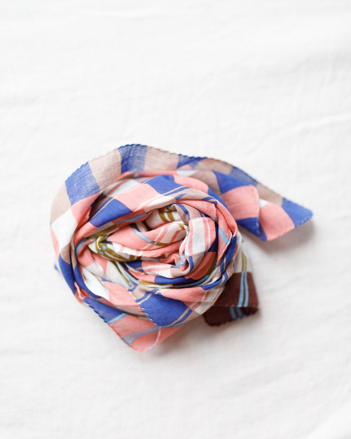 Épice Accessories Grid Bandana in Corail