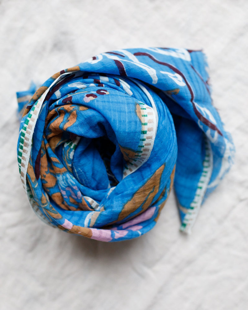 Épice Accessories Roses Cotton Scarf in Bluebell